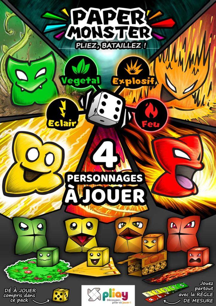 PaperMonsters Pack 1 - le jeu de bataille à plier