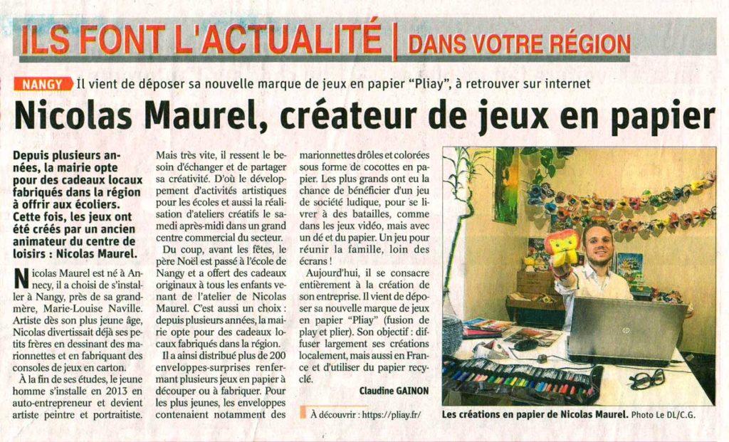 Article journal Dauphiné - Pliay Nicolas Maurel créateur de jeux en papier